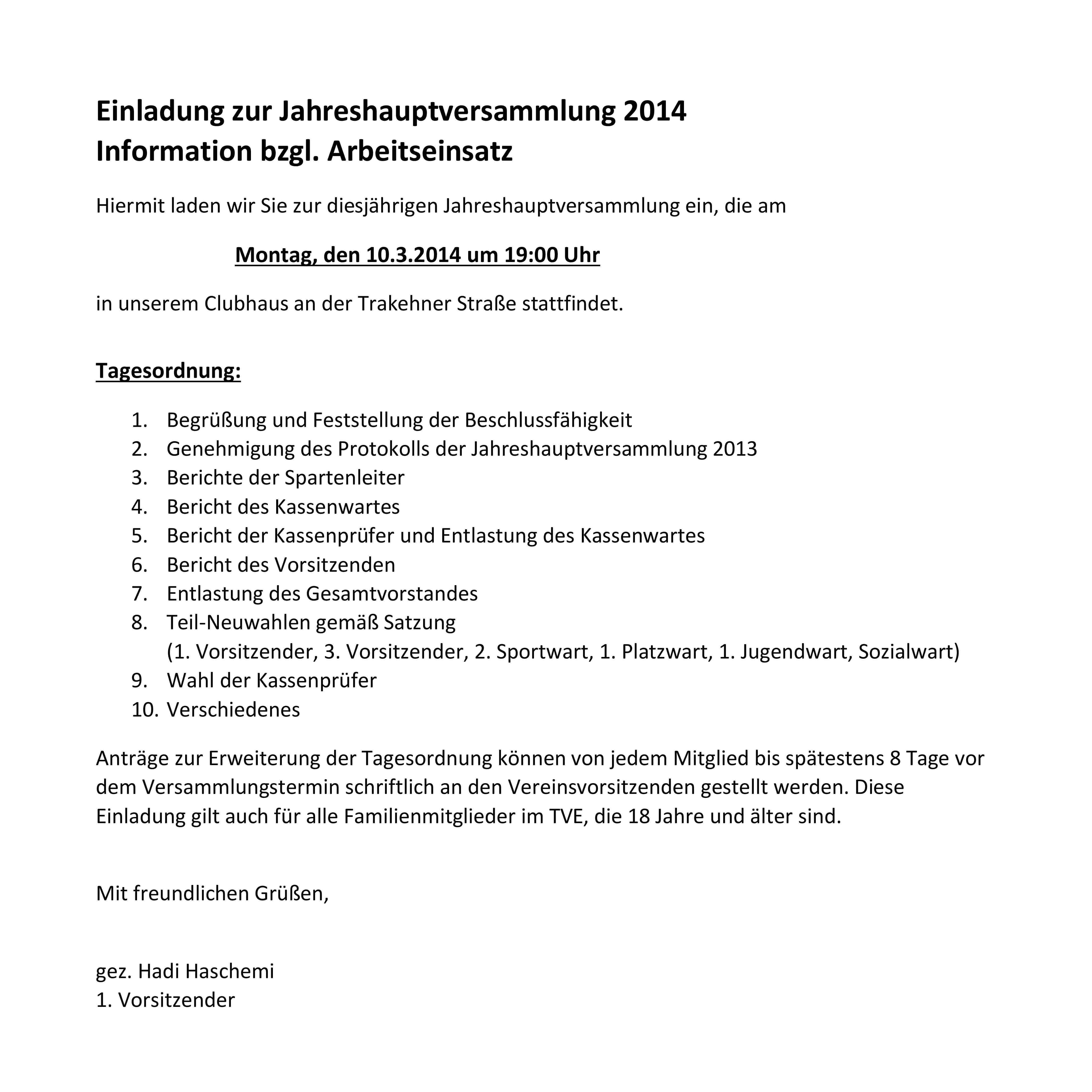 jahreshauptversammlung am 10.03.2014: tv espelkamp-mittwald e.v., Einladung